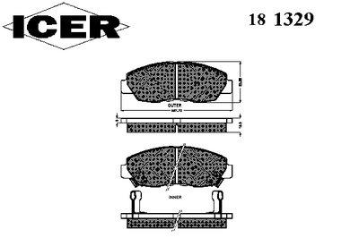 181329 ICER Комплект тормозных колодок, дисковый тормоз