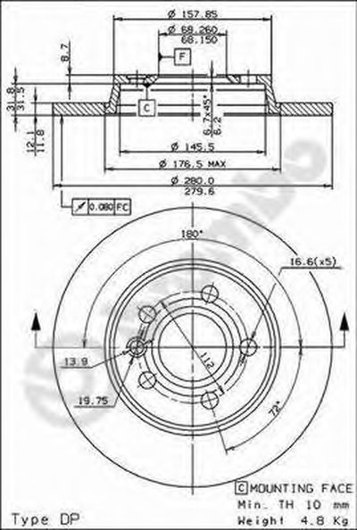 08728814 BREMBO Тормозной диск