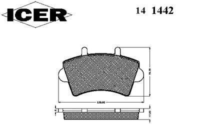 141442 ICER Комплект тормозных колодок, дисковый тормоз